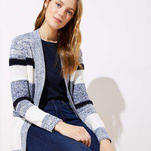 Loft Blue White Striped Open Cardigan Sweater M